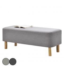 Banc de lit en tissu effet lin gris et pieds en bois Bjorn