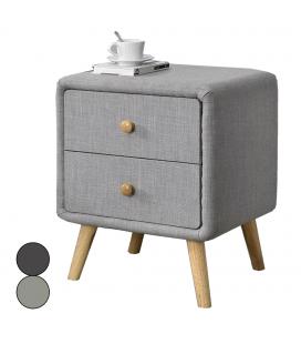 Chevet 2 tiroirs lin gris et bois clair Bjorn