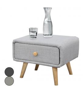 Chevet tissu lin gris avec tiroir et pieds bois Bjorn