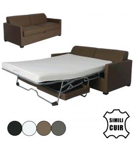 Canapé convertible simili cuir matelas intégré Smart - 4 coloris