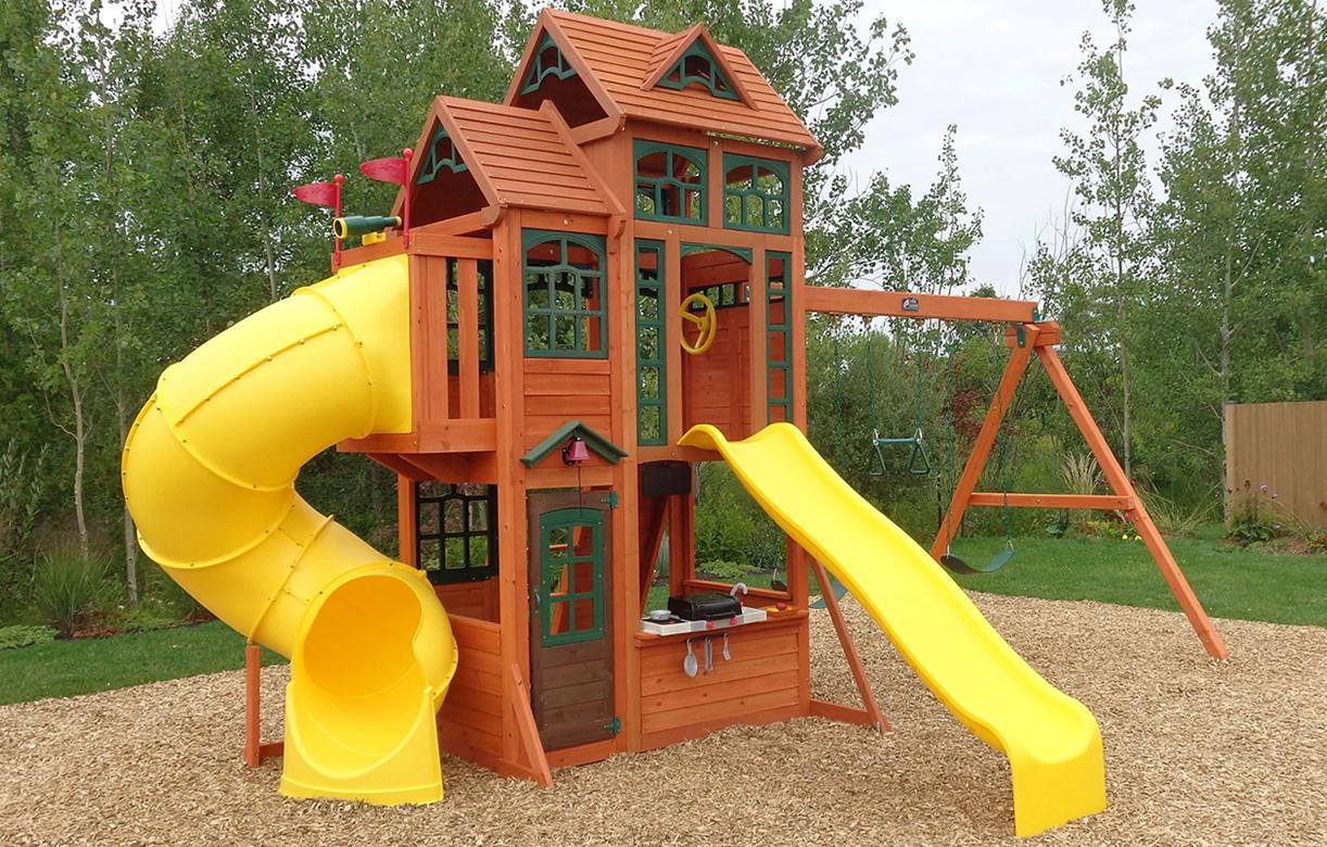 aire de jeu jardin avec double toboggan et balançoire