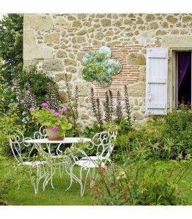 Miroir déco de jardin à coller fleur 40cm
