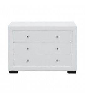 Commode 3 tiroirs en simili cuir blanc - LIGHT