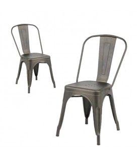 Chaises empilables style indus en acier FREEZ - Lot de 2
