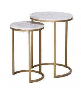 Petites tables rondes d'appoint encastrables en marbre