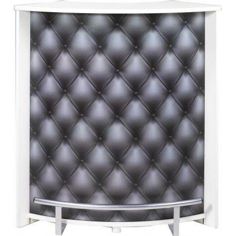 Comptoir de bar blanc bois clair ou noir effet capitonné -