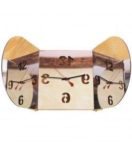 Horloge triptyque miroir mural ovale design inclinable