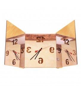 Horloge miroir triptyque mural design carré réglable