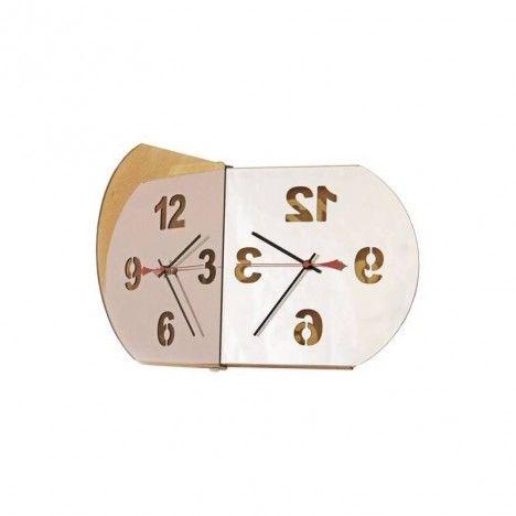 Horloge murale miroir design ovale angle réglable