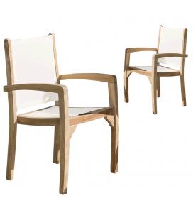 Lot de 2 fauteuils dossier et assise couleur ivoire (501104) gamme FUN