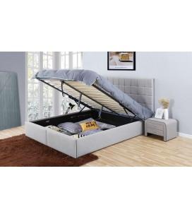 Lit coffre en tissu effet lin avec tête de lit et tiroirs Skoll