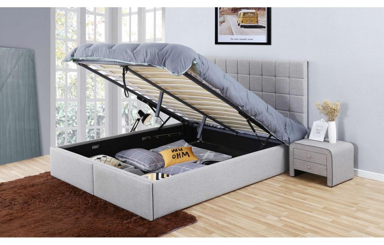 Tete De Lit Contre Radiateur lit coffre en tissu effet lin avec tête de lit et tiroirs