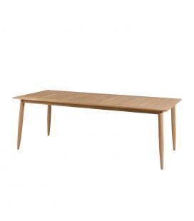 Table à manger en teck massif 220 x 100cm coloris bois clair PALU