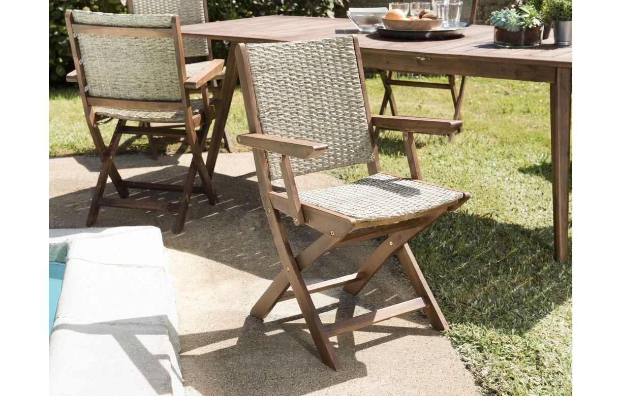 Table de jardin extensible + 6 chaises rotin et acacia NANG ...