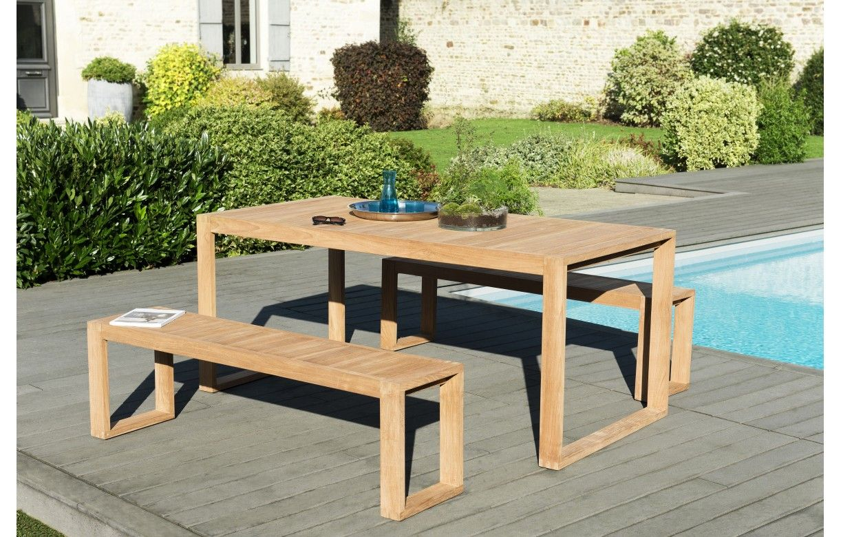 Ensemble de jardin avec table et banc en bois massif PALU ...