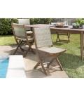 Salon de jardin avec table extensible et chaise bois massif et rotin VICK