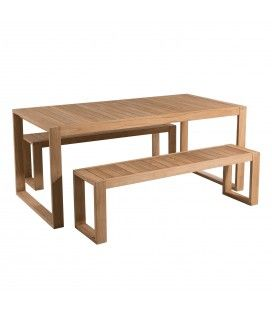 Ensemble de jardin avec table et banc en bois massif PALU