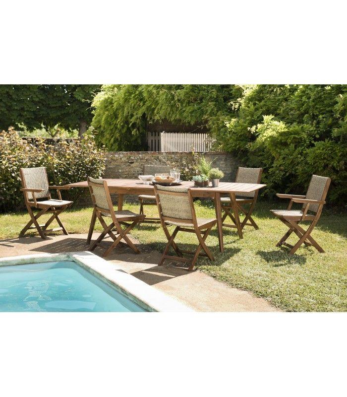 Table de jardin extensible + 6 chaises rotin et acacia NANG