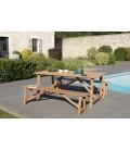 Set d'extérieur - Table et bancs bois massf clair indonésien KIM