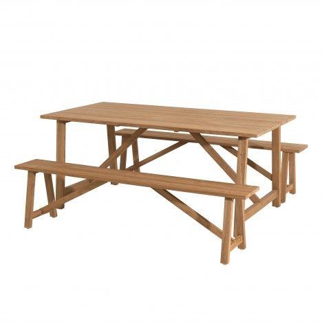 Ensemble de jardin avec table en bois massif et bancs PALU