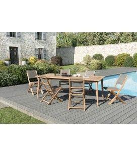 Set de jardin - Table en teck massif et 6 chaises pliantes KIM