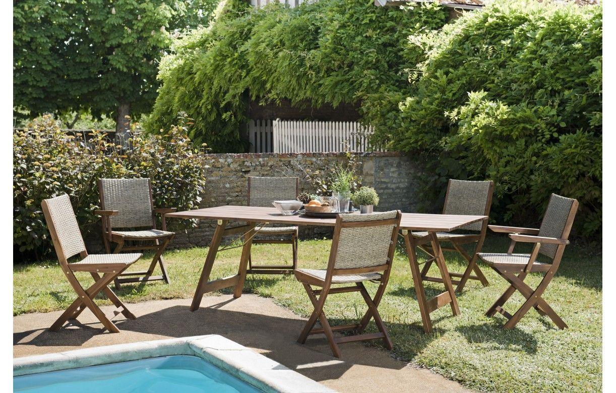 Ensemble d\'extérieur avec table en acacia et chaises en rotin NANG ...