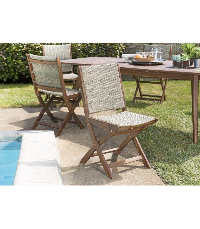 Ensemble d\'extérieur avec table en acacia et chaises en rotin NANG
