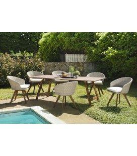 Salon de jardin en bois d'acacia et rotin naturel VICK