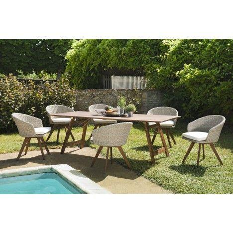 Salon de jardin avec 6 chaises en rotin et table en bois massif NANG