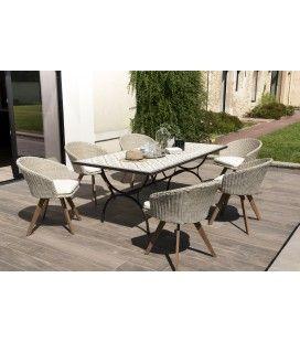 Salon de jardin avec table mosaïque et 6 chaises en rotin VICK