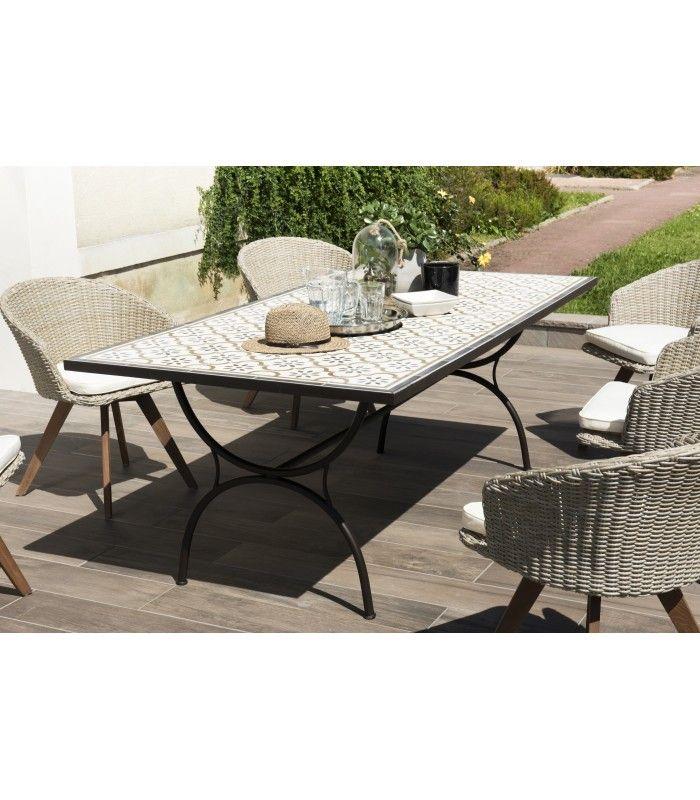 Grande table de jardin mosaïque avec 6 chaises en rotin NANG