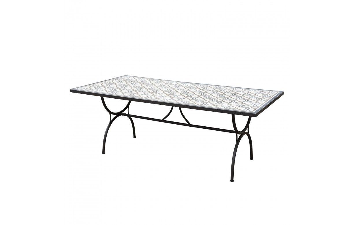 Grande table de jardin mosaïque avec 6 chaises en rotin NANG ...