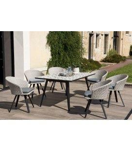Salon de jardin avec table à mosaïque + 6 fauteuils VICK