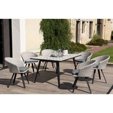 Table de jardin mosaïque et 6 fauteuils effet rotin NANG