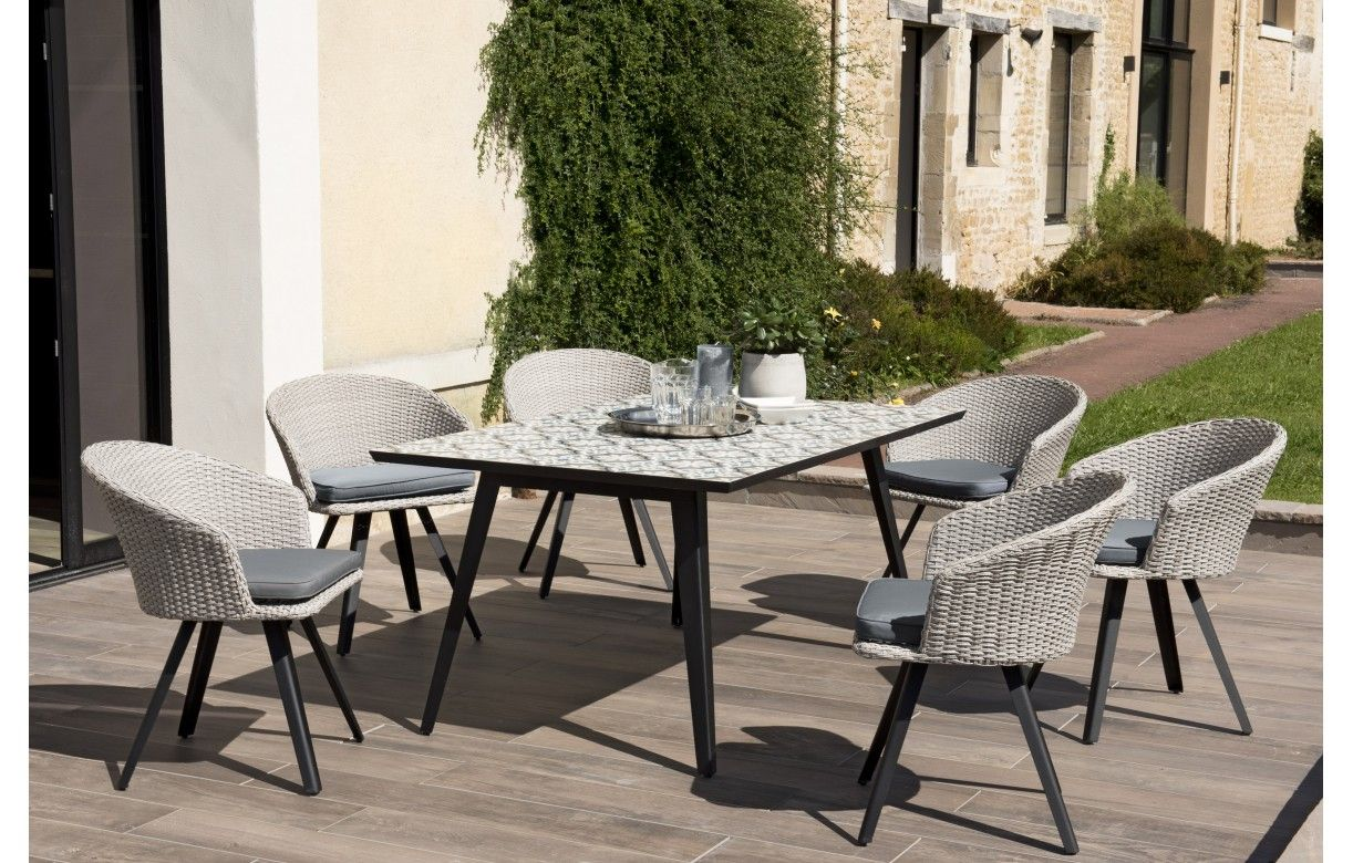 Table de jardin mosaïque et 7 fauteuils effet rotin NANG - Decome