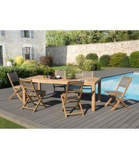 Set de jardin composé d'une table et de 6 chaises en bois massif KIM