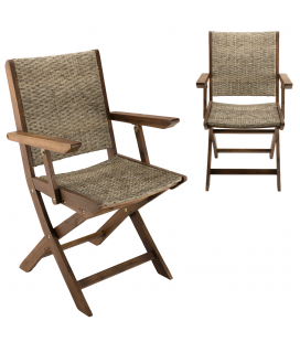 Lot de 2 fauteuils pliants en bois d'Acacia et rotin NANG
