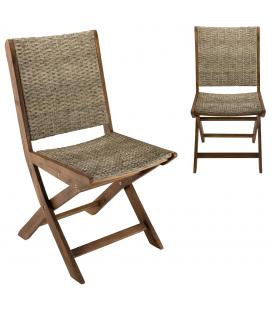 Lot de 2 chaises pliantes effet rotin et bois bois d'acacia NANG