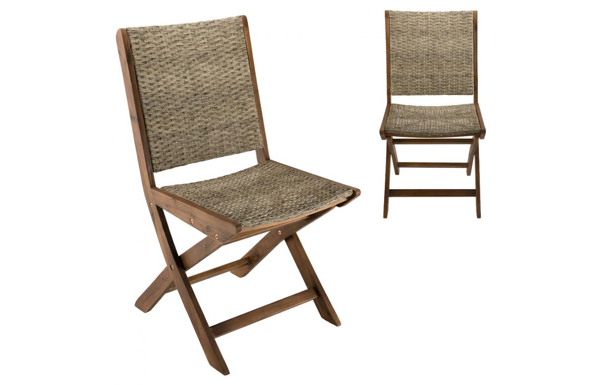 Lot de 2 chaises pliantes effet rotin et bois bois d'acacia