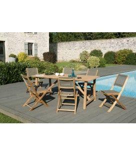 Set d'extérieur avec table en bois + lot de 6 chaises PALU