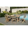 Ensemble de jardin avec table et chaises en bois massif KIM