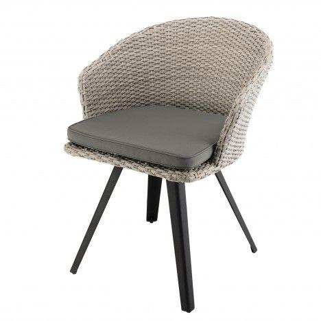 Chaise rotin naturel avec coussin gris pieds noir métal VICK
