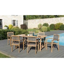Set de jardin avec table et chaises en teck massif KIM