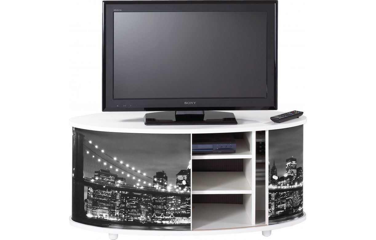 Meuble Tv Blanc Ou Noir New York Decome Store # Meuble Tv New York