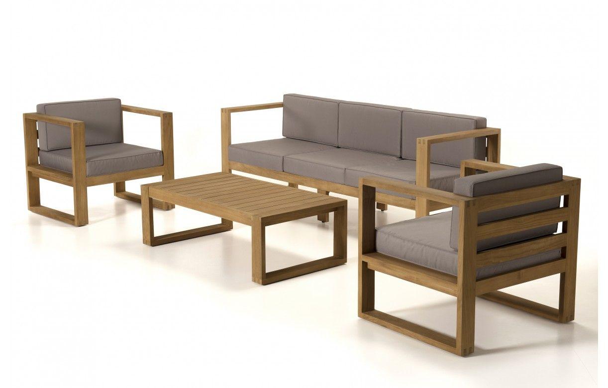 Salon de jardin moderne 5 places en bois massif PALU ...