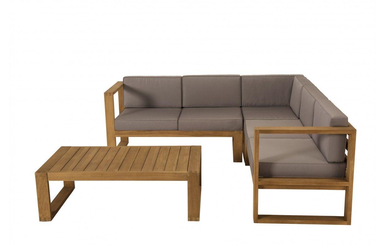 Salon de jardin d\'angle en bois massif et tissu PALU ...