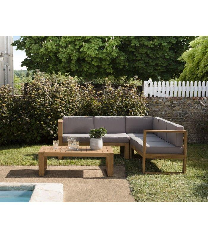 Salon de jardin d\'angle en bois massif et tissu PALU