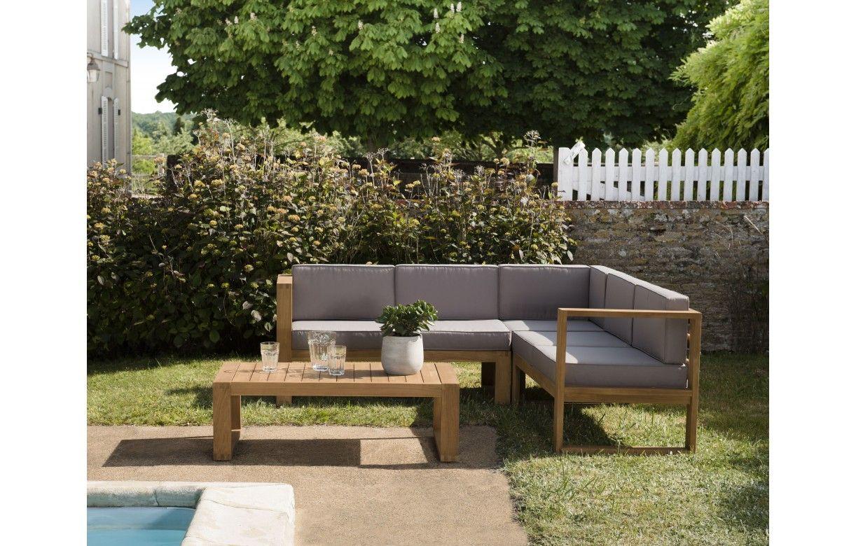 Salon de jardin d\'angle en bois massif et tissu PALU - Decome Store