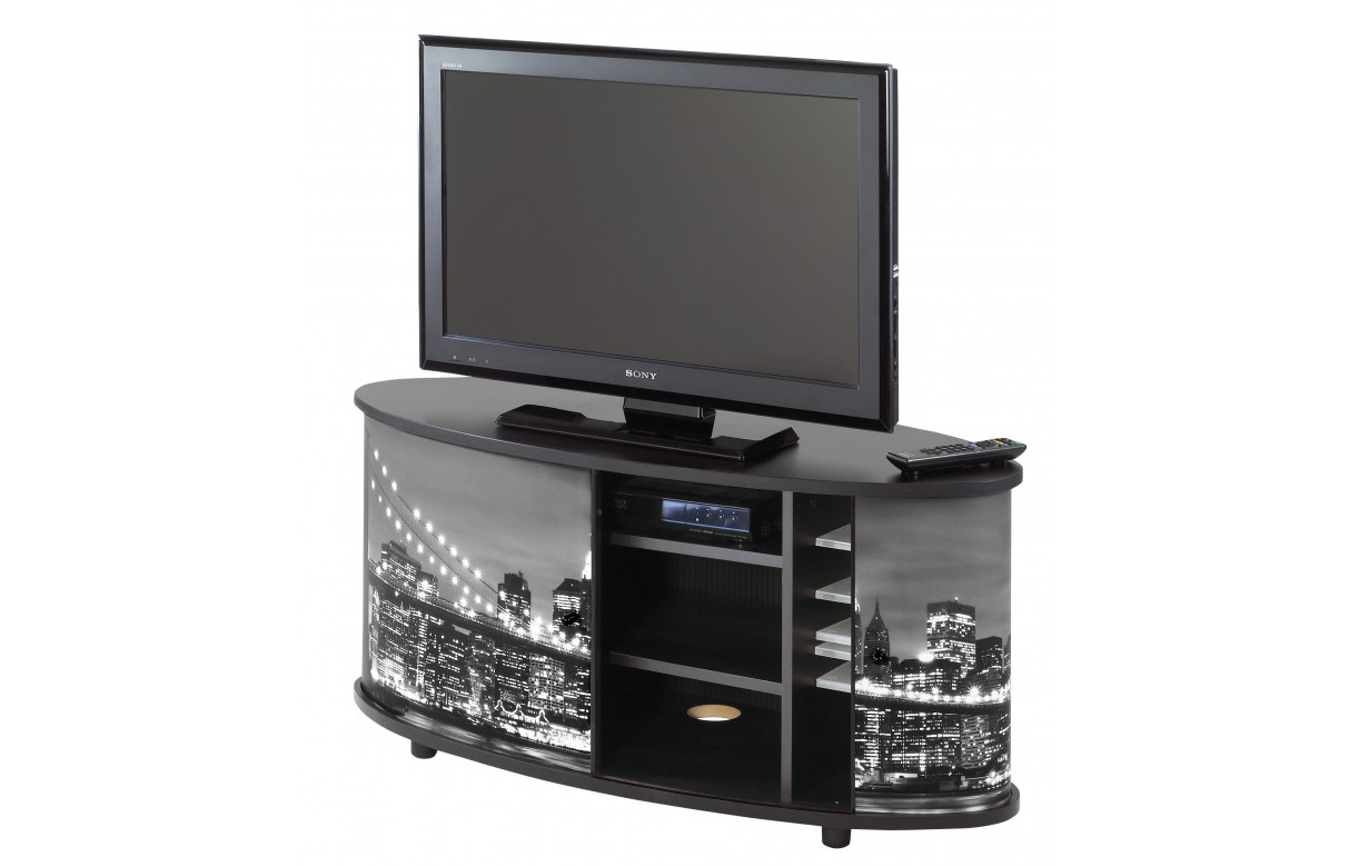Meuble tv blanc ou noir new york decome store for Meuble tv noir blanc