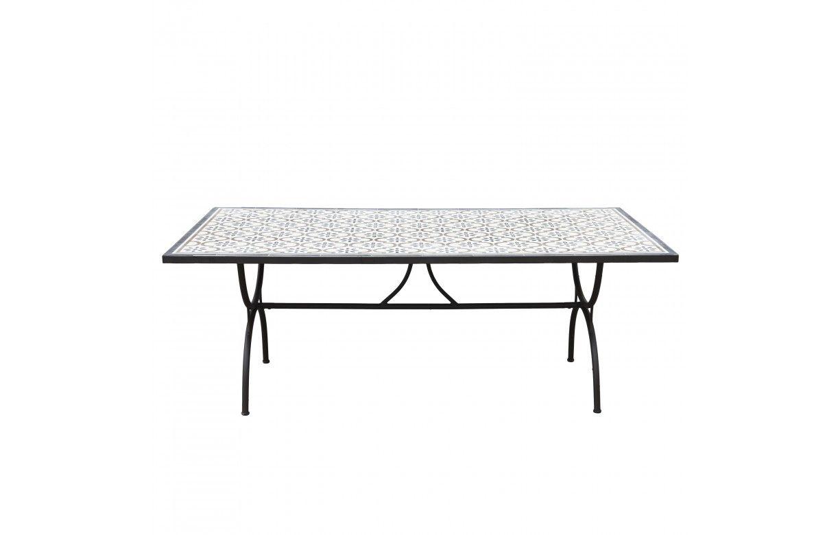 Salon De Jardin Carreau De Ciment table d'extérieur 200x100cm avec mosaïque de ciment et pieds